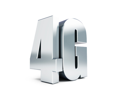 transmit: 4G metal sign, 4G cellular high speed data wireless connection. 3d Illustrations on white background