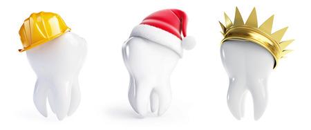 teeth hats crown, Santa hat, helmet worker on a white background 3D illustration