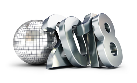 New Year 2018 Disco Ball on white background. 3d Illustrations