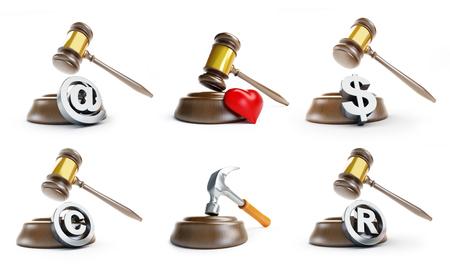 gavel law set on a white background 3D illustration Stock Photo