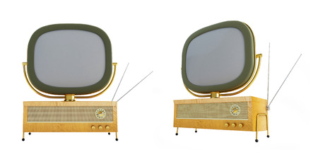 kinescope: old televisor on a white background 3D illustration