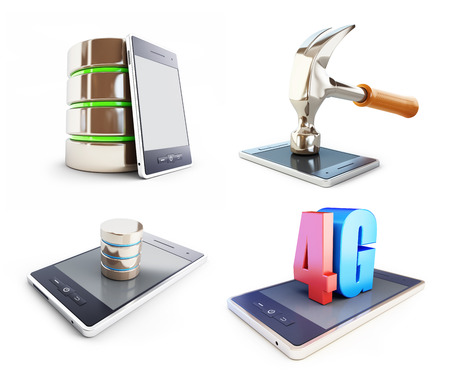 transmit: set smartphone , different activities. on a white background 3D illustration