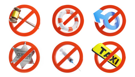 lifeline: no signs for different prohibited activities set on a white background 3D illustration