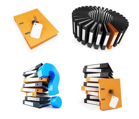 record office: Office folder set on a white background 3D illustration