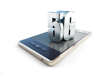 5G smartphone ang text on a white background 3D illustration