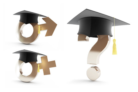 Education for women and men on a white background 3D illustration Stock Photo
