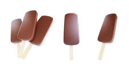 ice cream vanilla: Chocolate ice cream 3d Illustrations Stock Photo