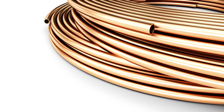 steel construction: copper pipes on a white background 3D illustration Stock Photo