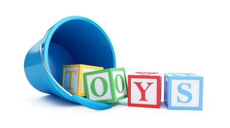 literacy: Toy bucket blue toy blocks on a white background 3D illustration