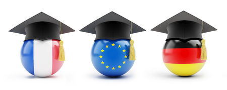 examiert: France, Germany, the European Union on a white background 3D illustration Stock Photo
