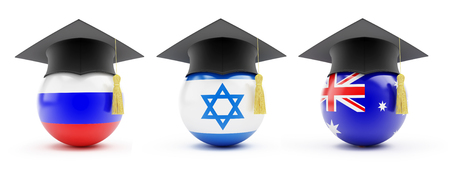 Education set Russia, Australia, Israel on a white background 3D illustration