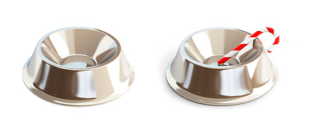 nibble: Metall dog dish on a white background 3D illustration