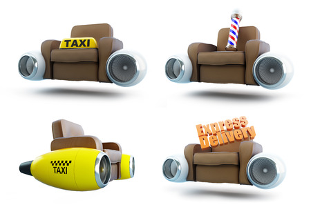 traffic pole: air leather armchair set on a white background 3D illustration