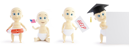 alumnus: set baby 3d in different occupations and different objects on a white background 3D illustration