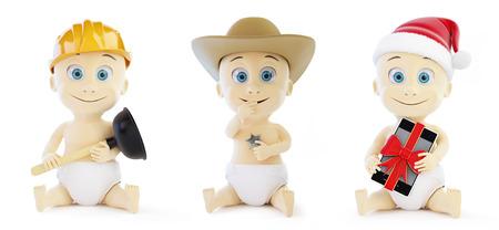 plumb: Child set in santa hat, cap sheriff on a white background 3D illustration