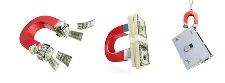 Magnet dollar set on a white background 3D illustration Stock Photo