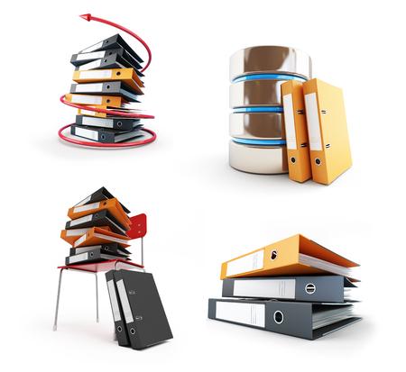 Office folders, Protect folder on a white background 3D illustration Stock Photo