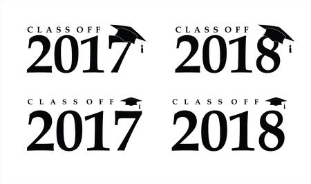 alumnus: Text with graduation hat set sign illustration Illustration
