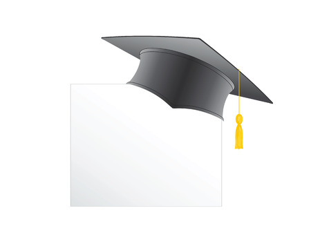 doctorate: Graduation cap isolated on a white background illustration