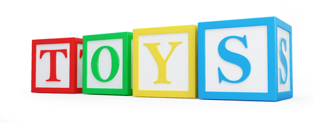 literate: Toy blocks on a white background 3D illustration