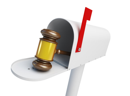 Mailbox law Gavel on a white background 3D illustration Stock Photo