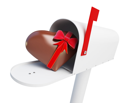 Mailbox Chocolate heart on a white background 3D illustration Stock Photo