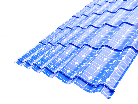 Roof solar panels  on a white background 3D illustration Banco de Imagens