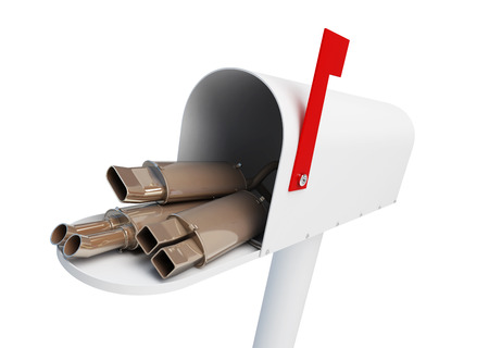 Delivery of car goods, auto silencers by mail home Muffler on a white background 3D illustration Stock Photo