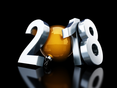 adorning: happy new year 2018 on black background 3d Illustrations
