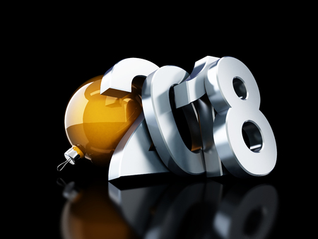 glas 3d: happy new year 2018 on black background 3d Illustrations