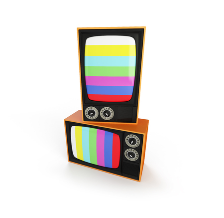 televison: two tv retro on a white background 3D illustration