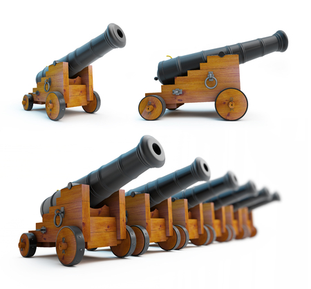 wheel barrel: Old cannons set on a white background