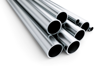 metal pipe on white background. on a white background 3D illustration, 3D rendering Stock Photo