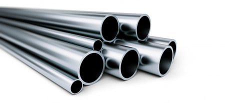 Metal pipe on white background. on a white background 3D illustration, 3D rendering Stok Fotoğraf - 82180531