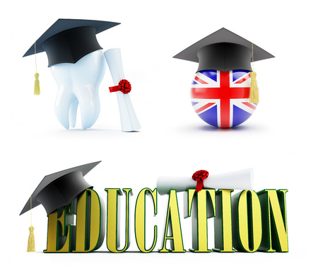 doctorate: Education of a dentist in England set on a white background 3D illustration, 3D rendering