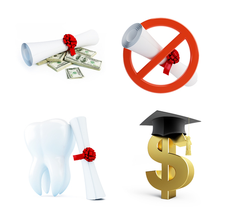 Education of a dentist on a white background Stock Photo
