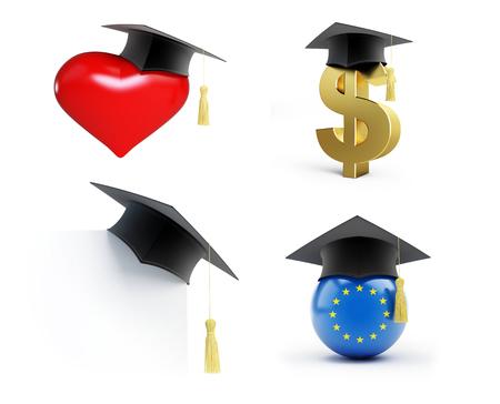 Education set Graduation hat on a white background 3D illustration, 3D rendering Stock Photo
