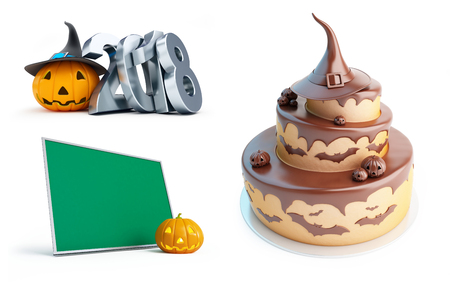 halloween background: halloween pumpkin 2018, Halloween cake on a white background 3D illustration, 3D rendering  Stock Photo