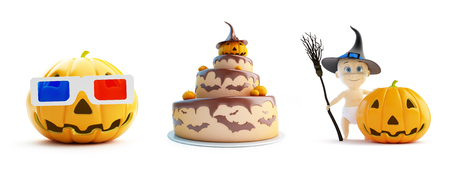 halloween background: 3d glasses, child in a Halloween costume cake on a white background 3D illustration, 3D rendering