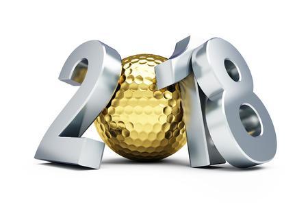 新年 2018年ゴルフ ボール ゴールド ホワイト バック グラウンド 3 D イラスト、3 D レンダリング