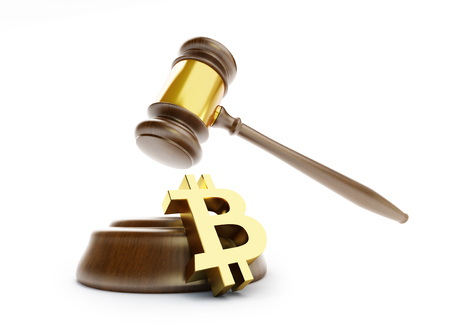 Law bitcoin  on a white background 3D illustration, 3D rendering