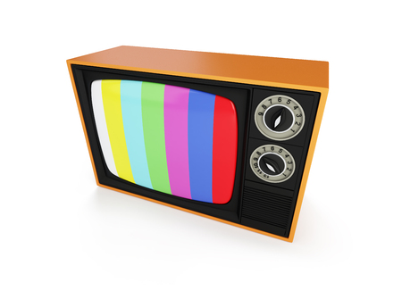 retro TV on a white background 3D illustration, 3D rendering