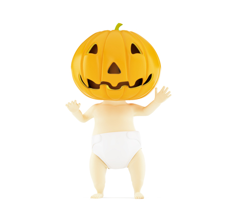 baby halloween on a white background 3D illustration, 3D rendering