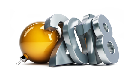 new year 2018 on a white background 3D illustration, 3D rendering Stock Photo