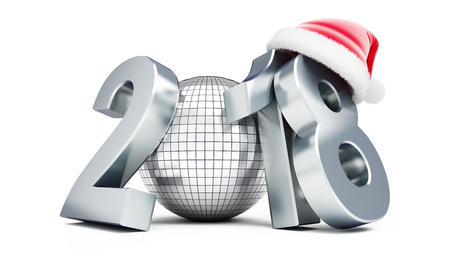 date night: disco ball new year 2018 santa hat  on a white background 3D illustration, 3D rendering
