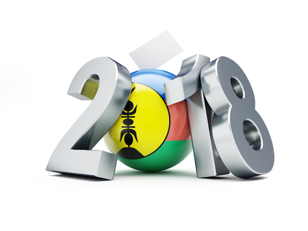 The referendum on the independence of New Caledonia 2018 on a white background 3D illustration, 3D rendering
