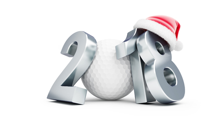 2018 new year golf bal santa hat on a white background 3D illustration, 3D rendering