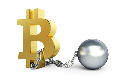 bitcoin in the chains of the offender on a white background 3D illustration, 3D rendering Stock Photo
