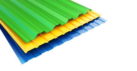 Colored corrugated metal sheet on white background. 3d Illustrations