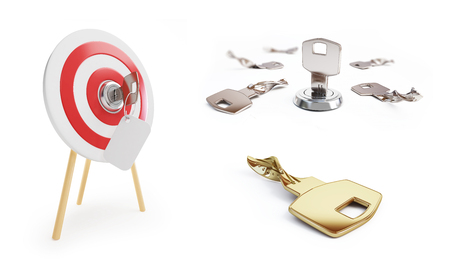 key set on a white background 3D illustration, 3D rendering